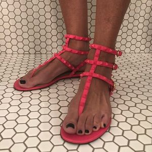Auth Valentino Rockstud Ankle-wrap Sandals Shoes